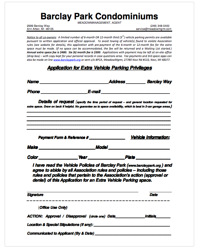 Click to download Additional Vehicle Parking Application