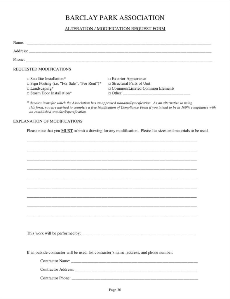 Alterations and Modifications Request form