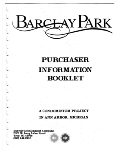 Screenshot of the Purchaser Information Booklet